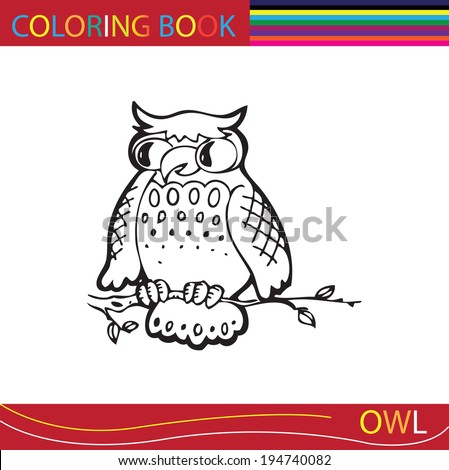 Coloring books or coloring pages black and white cartoon illustration of an owl.