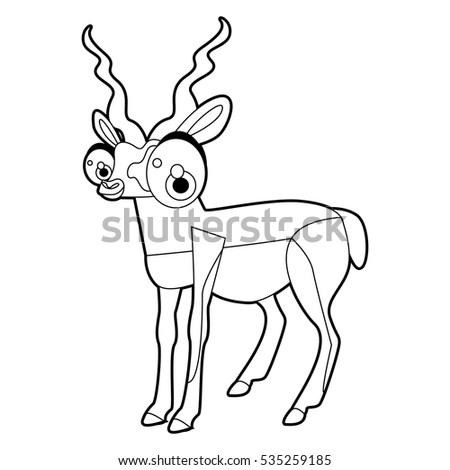 coloring cute cartoon animals collection cool funny illustration of antelope