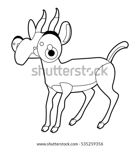 coloring cute cartoon animals collection cool funny illustration of saiga antelope