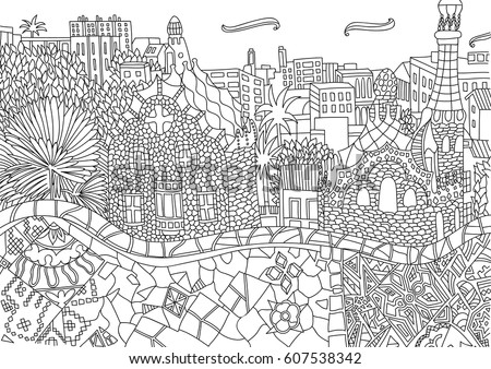 coloring for adult with barcelona spain catalonia coloring page in line style - City Coloring Pages