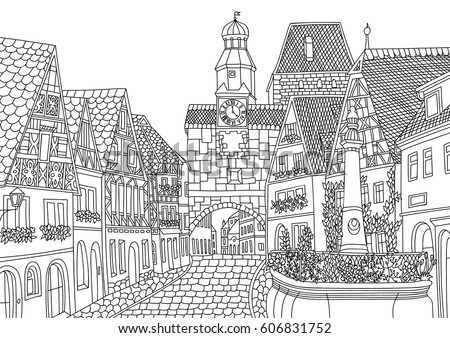 Coloring For Adult With Luxembourg Page In Line Style European Landscapes Europe