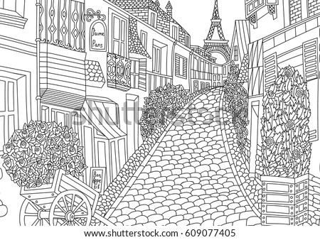 Coloring Adult Paris France Coloring Page Stock Vector 609077405 ...