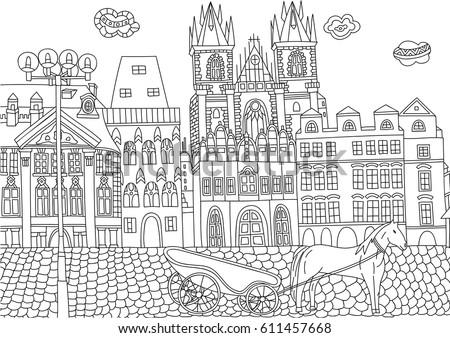 Coloring Adult Prague Czech Republic Coloring Stock Vector (2018 ...