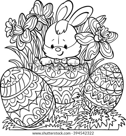 Coloring Happy Easter Cute Easter Bunny Stock Vector ...