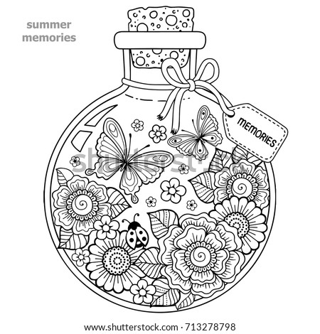 Coloring For Adults Vector Book A Glass Vessel With Memories Of
