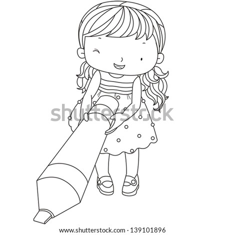 coloring illustration of a girl with marker pen. - stock vector