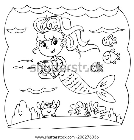 Coloring little mermaid with treasure box in the ocean. - stock vector