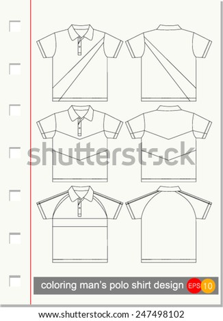 coloring man's polo shirt design, Vector illustration - stock vector