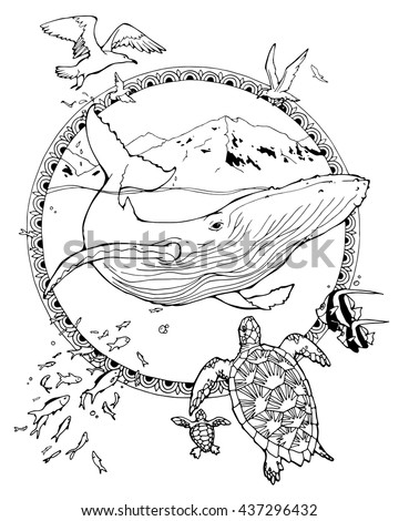 coloring page about whale and turtles and seagulls