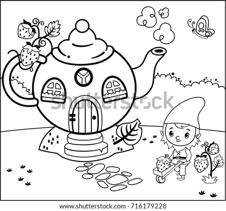 Coloring Page Activity Gnome Children Vector Stock Vector HD ...
