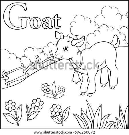 Coloring Page Cartoon Animals Alphabet G Stock Vector ...