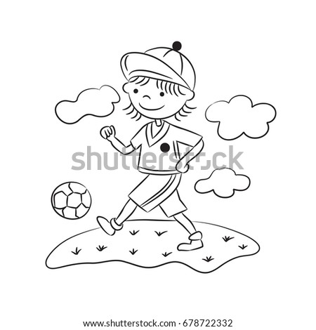 Coloring Page Cartoon Boy Playing Football Sportsman Vector Illustration For