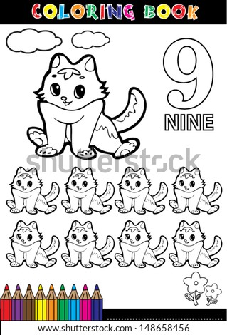 Coloring page cartoon illustration of a Number. 9 with a circus for children's education and fun. - stock vector