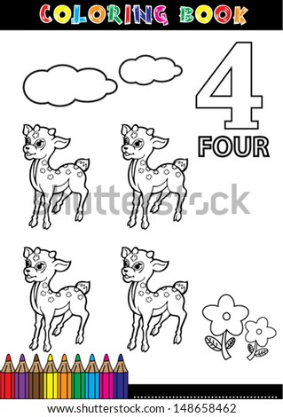 Coloring page cartoon illustration of a Number. 4 with a circus for children's education and fun. - stock vector