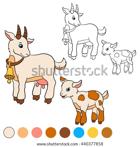 Coloring Page Color Me Goat Mother With Her Little Cute Baby