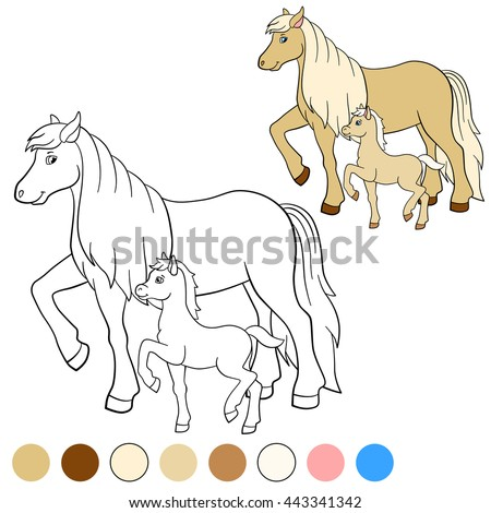 Coloring page. Color me: horse. Mother horse walks with her little cute foal.