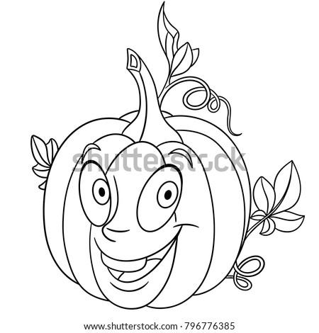 Coloring Page Coloring Book Cartoon Pumpkin Stock Vector (Royalty ...
