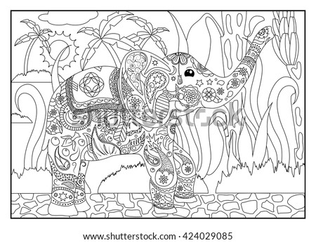 Coloring Page Elephant Bananas Adult Coloring Stock Vector 424029085 ...