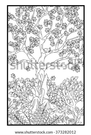 Coloring page - Fairy under the tree - stock vector