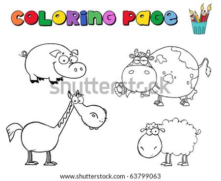 Coloring Page Farm Animals - stock vector