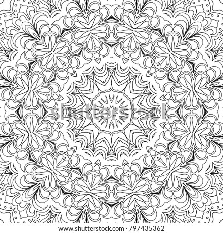 Coloring page for adults a part of intricate mandala tribal motif for background