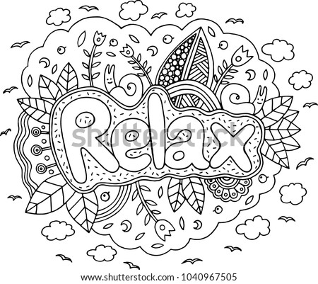 coloring page adults mandala relax word stock vector royalty free 1040967505 shutterstock. Black Bedroom Furniture Sets. Home Design Ideas
