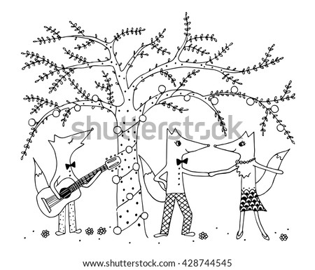 Coloring Page For Kids Funny Fox Party Under The Tree With Flashlights Three Foxes