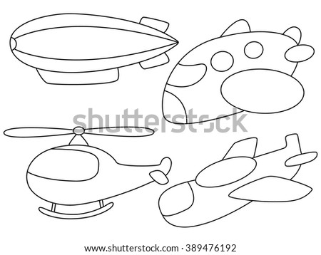 Coloring page for kids in black outline hot air balloon, plane - stock vector
