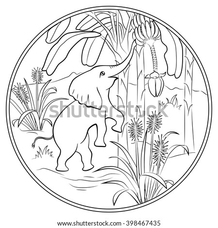 Coloring Page For Kids With Cute Elephant And Banana Tree
