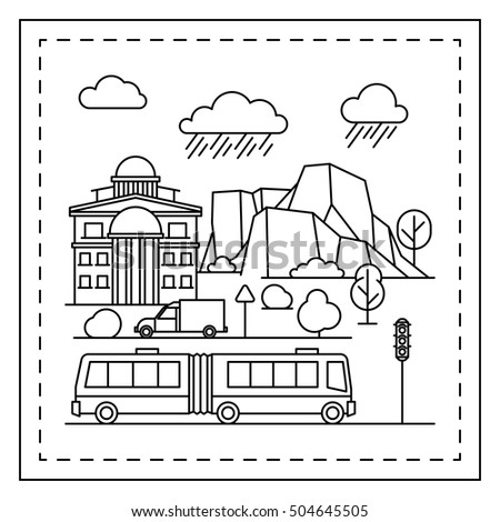 Coloring Page For Kids With Houses Trees Mountains Trolleybus And Traffic Light