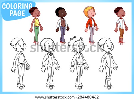 Coloring Page. Four boys in stylish outfits. Vector illustration on white background. A4 size. - stock vector
