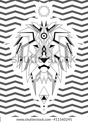 coloring page geometric lion lion considered stock vector 411560245