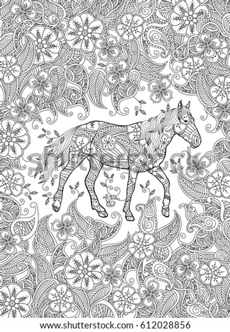 Coloring Page In Zentangle Inspired Style Running Horse On Flowering Meadow Vertical Composition