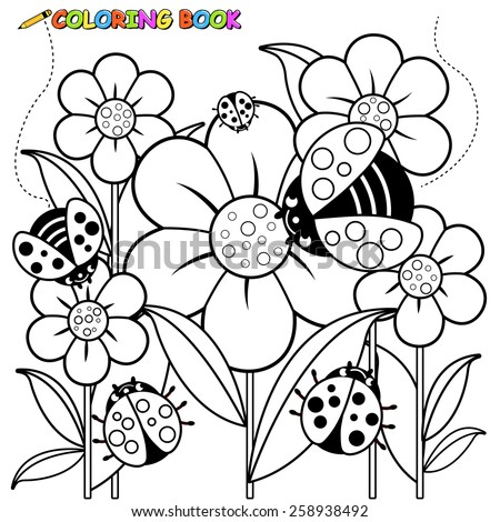 Coloring page ladybugs and flowers. Vector Illustration of a black and white outline image of ladybugs flying on flowers in springtime.  - stock vector