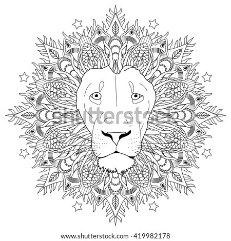 Coloring Page Mandala Lion Head Animal Stock Vector