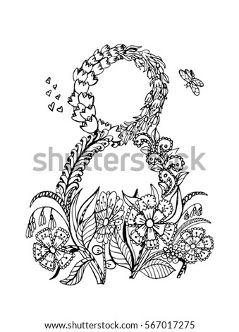 Coloring Page 8 March With Flowers Ornament Black And White Vector Illustration