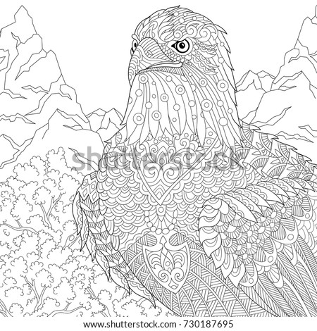 Coloring Page American Bald Eagle National Stock Vector 730187695