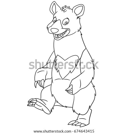 Coloring Page Of American Black Bear Colouring Book For Kids And Children Cartoon Vector