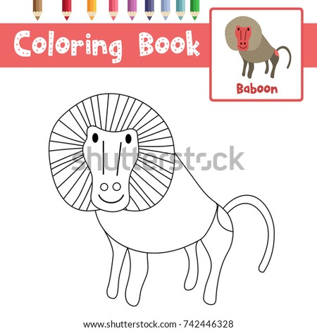 Coloring Page Of Baboon Animals For Preschool Kids Activity Educational  Worksheet. Vector Illustration.