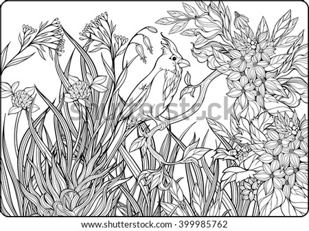 coloring page of bird on a branch in  a garden 2 - stock vector