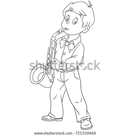 Coloring Page Of Cartoon Boy Playing Saxophone Music Book Design For Kids And Children