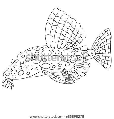 Coloring Page Cartoon Catfish Coloring Book Stock Vector 685898278 ...