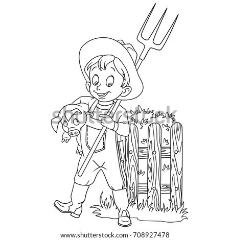 Coloring Page Of Cartoon Farmer With A Pitchfork And Pig Book Design For