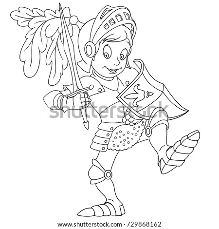 Coloring Page Cartoon Knight Shield Sword Stock Vector HD (Royalty ...