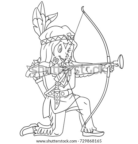 Coloring Page Cartoon Native American Indian Stock Vector ...