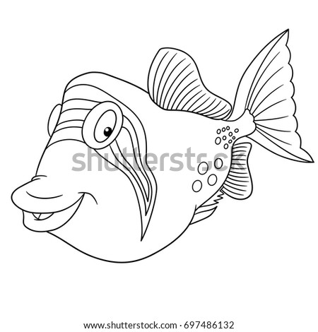 Coloring Page Of Cartoon Triggerfish Trigger Fish Book Design For Kids And
