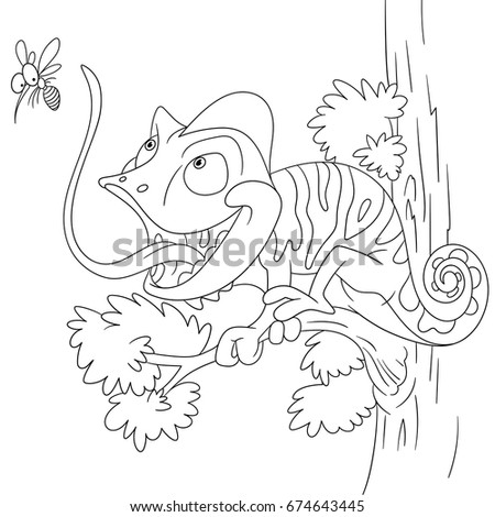 Coloring Page Of Chameleon And Mosquito Colouring Book For Kids Children Cartoon Vector