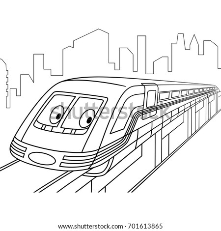 Coloring Page Of High Speed Electric Train Cartoon Vehicle Transport Book Design For