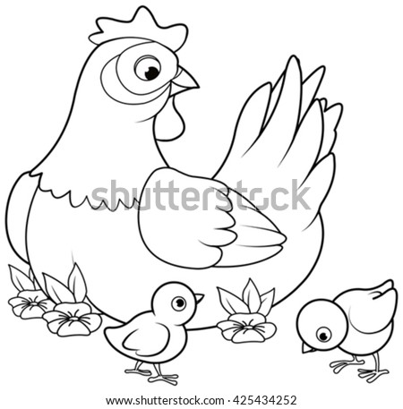 Coloring page of mother hen with its baby chicks  - stock vector