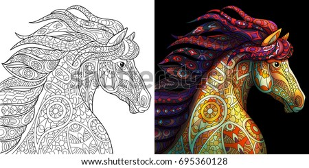 Big Abstract Coloring Pages : Coloring page mustang horse colorless color stock photo photo